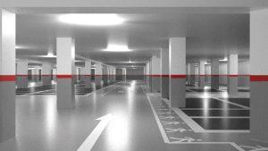 Trabajo de señalización de seguridad en parking de Getafe